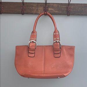 Tignanello Leather orange footed bag